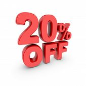 20 Percent Off Promotion. Discount Sign. Red Text Is Isolated On White. 3d Render poster