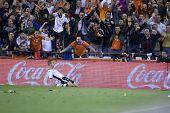 VALENCIA, España - el 10 de abril - Soldado en la Liga española de fútbol entre el Valencia c.f.. vs Villarre
