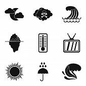 Meteorological Service Icons Set. Simple Set Of 9 Meteorological Service Vector Icons For Web Isolat poster