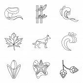 Weather Climate Icons Set. Outline Set Of 9 Weather Climate Vector Icons For Web Isolated On White B poster