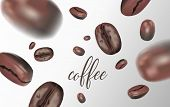 Vividly Flying Coffee Beans On White Background. Blurred Coffee Beans, Quality 3d. Vector Illustrati poster