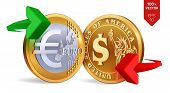 Dollar To Euro Currency Exchange. Dollar And Euro Coins. Exchange Concept. Golden Coins With Euro An poster