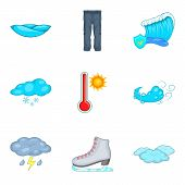 Chilly Weather Icons Set. Cartoon Set Of 9 Chilly Weather Vector Icons For Web Isolated On White Bac poster