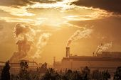 Pollution Of The Environment By Heavy Industry. Industrial Landscape At Sunset Sky. Metallurgical Pl poster