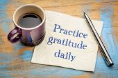 Practice gratitude daily reminder - inspirational handwriting on a napkin poster