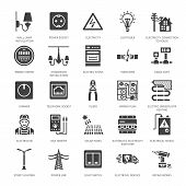 Electricity Engineering Vector Flat Glyph Icons. Electrical Equipment, Power Socket, Torn Wire, Ener poster