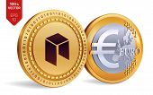 Neo. Euro Coin. 3d Isometric Physical Coins. Digital Currency. Cryptocurrency. Golden Coins With Neo poster