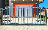 Chrome Fence Gate. Stainless Steel Fence Gate poster