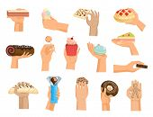 Hands With Cake Vector Arm Holding Chocolate Confectionery Cupcake And Sweet Confection Dessert Of B poster
