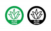 Aloe Vera Green Leaf Label For Natural Organic Product Package. Isolated Aloe Vera Leaf Circle Icon poster