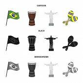 Brazil, Country, Flag, Drum . Brazil Country Set Collection Icons In Cartoon, Black, Monochrome Styl poster