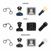Handcuffs, Policeman, Prisoner, Flashlight.police Set Collection Icons In Cartoon, Black, Monochrome poster