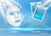 Facial Mask Ad. Vector Realistic Background With Facial Sheet Mask, Sachet Mockups And Copy Space. C poster