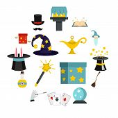 Magic Icons Set In Flat Style. Magic Tricks Set Collection Vector Illustration poster