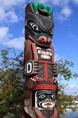 image of indian totem pole  - Totem Pole in Victoria at Vancouver Island - JPG