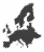 Halftone Round Spot European Union Map. Vector Geographical Map On A White Background. Vector Concep poster