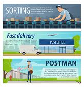 Post Mail Delivery And Postage Service Banners Of Post Shipping Transport And Postman At Sorting Cen poster