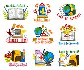 Welcome Back To School Icons Set Of School Bag And Lesson Stationery. Vector Isolated Pen, Chemistry poster
