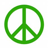 stock photo of peace-sign  - Green peace Sign illustration on white background - JPG
