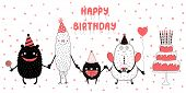 Hand Drawn Birthday Card With Cute Funny Monsters In Party Hats, Smiling And Holding Hands, With Typ poster