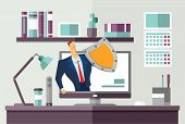 Man In Business Suit With A Shield Protecting Computer On Office Desk. Protecting Your Personal Data poster