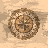 Grunge Brown Background With Windrose Sign. Geography Research, Worldwide Traveling And Exploration. poster
