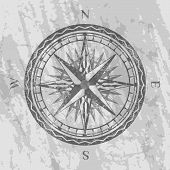 Compass Rose On Grunge Grey Background. Geography Research, Worldwide Traveling And Exploration. Nau poster