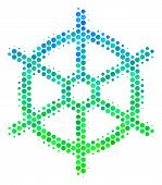 Halftone Circle Boat Steering Wheel Icon. Icon In Green And Blue Shades On A White Background. Vecto poster
