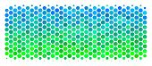 Halftone Circle Building Brick Icon. Icon In Green And Blue Shades On A White Background. Vector Col poster