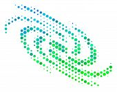 Halftone Round Spot Galaxy Pictogram. Icon In Green And Blue Shades On A White Background. Vector Co poster