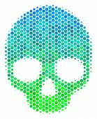 Halftone Round Spot Skull Pictogram. Pictogram In Green And Blue Color Tones On A White Background.  poster