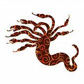 Hydra Pattern Silhouette Ancient Mythology Fantasy. Vector Illustration. poster