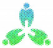 Halftone Dot Stomatology Pictogram. Pictogram In Green And Blue Color Tints On A White Background. V poster