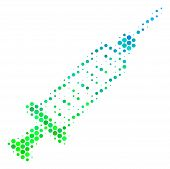 Halftone Round Spot Syringe Pictogram. Pictogram In Green And Blue Color Tinges On A White Backgroun poster