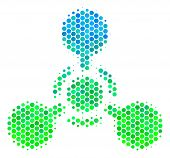 Halftone Dot Wmd Nerve Agent Chemical Warfare Pictogram. Pictogram In Green And Blue Color Tones On  poster