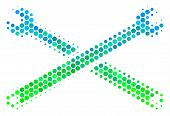 Halftone Circle Wrenches Icon. Icon In Green And Blue Color Hues On A White Background. Vector Compo poster