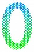 Halftone Round Spot Zero Digit Pictogram. Pictogram In Green And Blue Color Hues On A White Backgrou poster