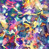 Watercolor Ethnic Seamless Pattern. Tribal Colorful Paint Brush Print. Oriental Watercolour Bandana. poster