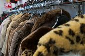 Rail of secondhand fur coats for sale in a thrift store or charity shop with a fifty per cent discou poster