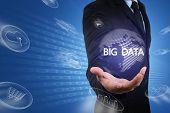 Asian Businessman Hold Virtual Digital Globe Of Data Flow From Bi,big Data Technology.professional S poster