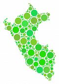 Peru Map Composition Of Random Circle Elements In Different Sizes And Green Color Tones. Vector Smal poster