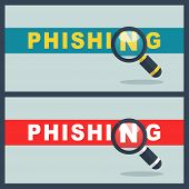 Illustration Of Phishing Word With Magnifier Concept poster
