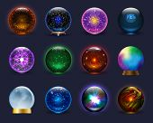 Magic Ball Vector Magical Crystal Glass Sphere And Shiny Lightning Transparent Orb As Prediction Soo poster