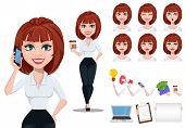Business Woman In Office Style Clothes With Brown Hair. Cheerful Businesswoman Cartoon Character Cre poster
