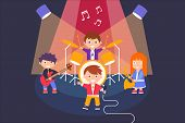 Kids Playing Different Musical Instruments And Singing Song, Musical Group Performing On The Stage V poster
