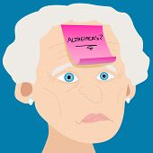 Senior Woman With Alzheimer Sticky Note
