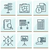 Management Icons Set With Cash Flow, Statistics And Management, Personality Analysis Elements. Isola poster