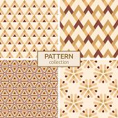 Set Of Four Seamless Fashion Colorful Patterns. Abstract Geometric Shapes Color Patterns. Patterns O poster