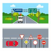 Horizontal Banners With Road Signs. Two Horizontal Banners With Transport And Road Signs. Flat Desig poster