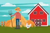 Young Male Farmer With Pitchfork And Bucket. Chicken Walking On Green Meadow. Heaps Of Hay, Wooden F poster